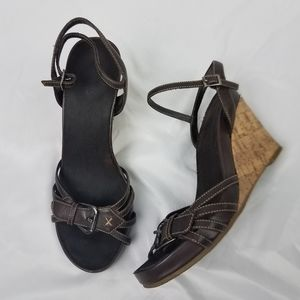 BASS Cork Wedges Ankle Strap Brown Sandals sz7